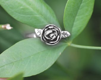 Flora Rose Ring  - Made for you - Custom - OOAK. Sterling Silver rose