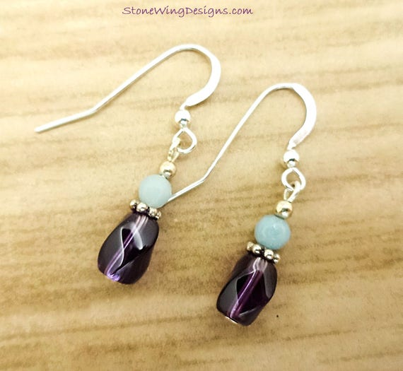 Dainty Amethyst and Amazonite Gemstone Birthstone Earrings