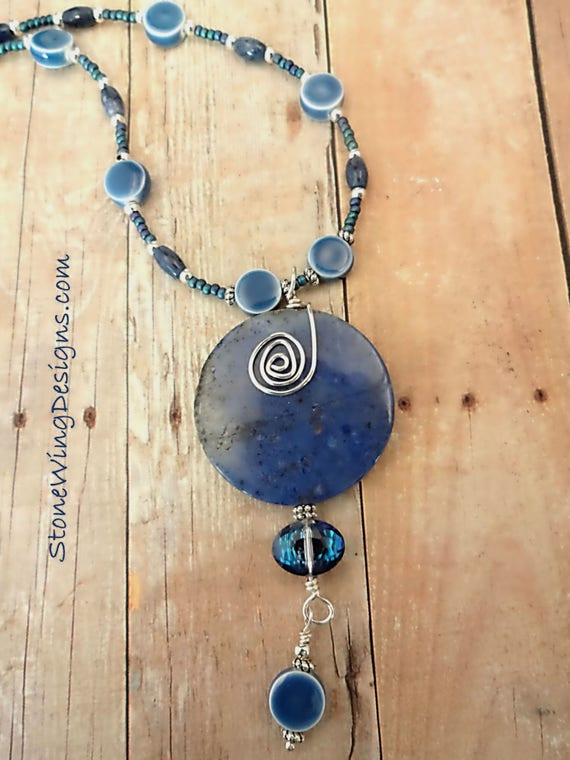 Blue Dumortierite, Ceramic and Crystal Necklace