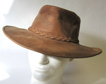 Brown Leather Western Hat Bush