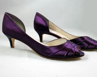 MOB Purple Wedding Shoes low heel SALE size 10.5 -- 1.75 inch heel - Aubergine colored shoes Ready to ship - Eggplant shoe