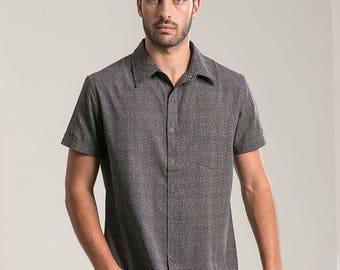 Mens Short Sleeve Button Up Shirt In Dark Grey Arabesque Full Printed Shirt Button Down Shirt Psychedelic Fashion