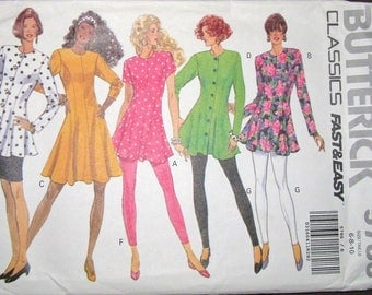 Easy Vintage Sewing Pattern Butterick 5786 Fit Flare Dress, Top, Skirt, Leggings Womens Misses Size 6 8 10 Bust 30 31 32 Uncut Factory Folds
