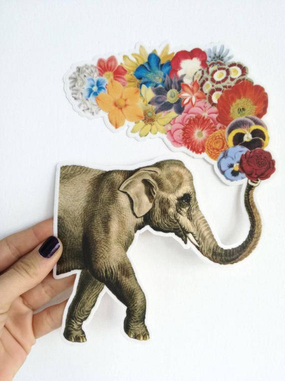Elephant Laptop decal Vinyl sticker, Elephant with flowers, Student gift, laptop stickers, Decal Girls , High quality STC020