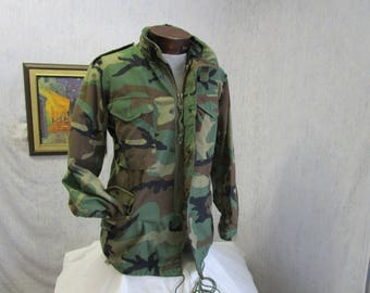 90s S Winter Field Jacket Army Combat Military Fatigues Camoflage Green