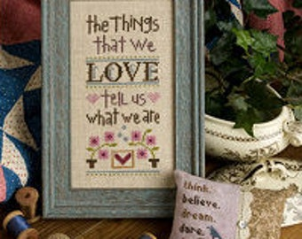 FREE gift w/pre-order LIZZIE*KATE The Things That We Love Inspiration Boxer counted cross stitch patterns Valentine's Day
