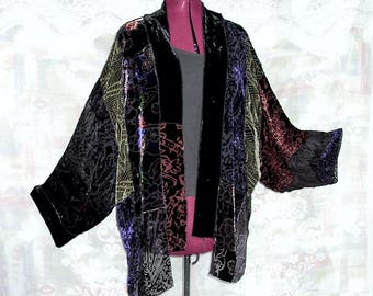 Sheer Silk Burnout Velvet Patchwork Kimono Jacket