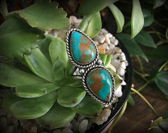 Butterfly Wings - Hubei Turquoise Double Stone Statement Ring - Size 8.5