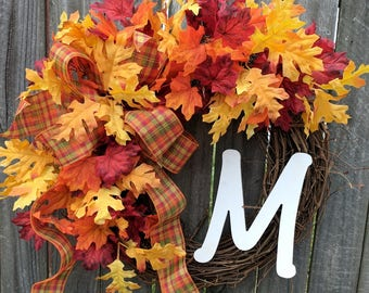 Fall Wreath, Wreath for autumn leaves wreath monogram wreath leaf wreath front door wreath bow Halloween fall door wreaths, Fall Decor