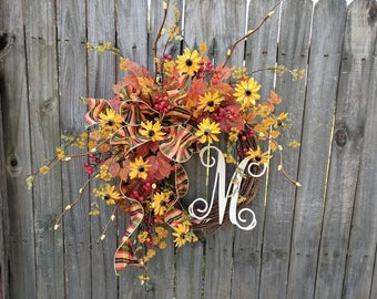 Fall Wreaths, Thanksgiving Wreath, Autumn Wreaths, Natural Woodland Harvest Wreath, Autumn Wedding Wreath, Monogram Fall Wedding Wreath