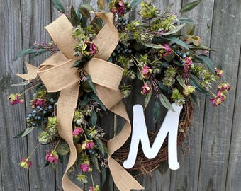 Everyday Wreath, Wreath for Fall, Spring, Summer, Winter, Monogram Wreath, Everyday Burlap Wreath with Letter, Front Door Wreath, hops