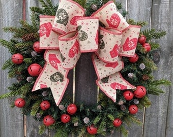Christmas Wreath Bells and Mittens, Wreath Burlap Jingle Bells Wreath Burlap Color Christmas and Winter Wreath, Christmas Decoration Wreath
