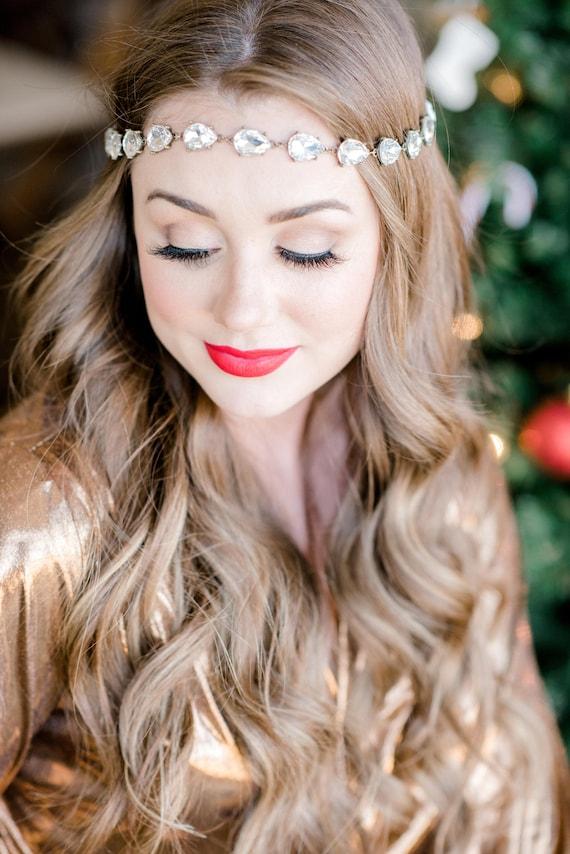 Bridal Headpiece, Head Chain, Bridal Hair Chain, Rhinestone Head Chain, Flapper Headpiece, Halo Hair Chain, Great Gatsby Hairpiece GLITZ