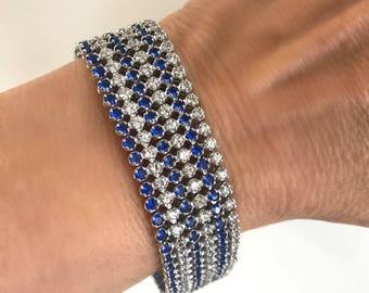 Vintage Silver Diamond and Blue Sapphire Estate Jewelry Bracelet Blue Stone White Stone Multi Stone Formal Bracelet Dressy Bracelet
