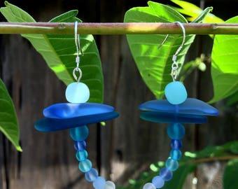 Sea Glass Dragonfly Earrings
