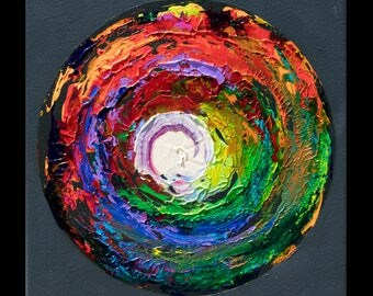 Imprint 21 (Blackjack), Original colorful square spectrum rainbow painting pop art, NYC artist