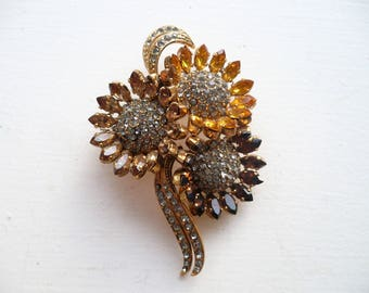 Vintage Large Rhinestone Flower Brooch Amber Topaz Jewel Tone Marquise Pave Pin