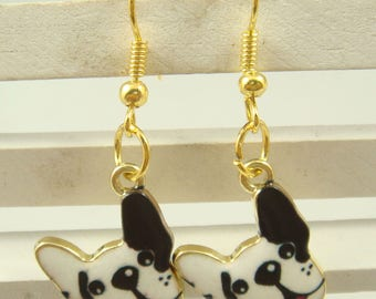 Earrings Bulldog Gold Plated