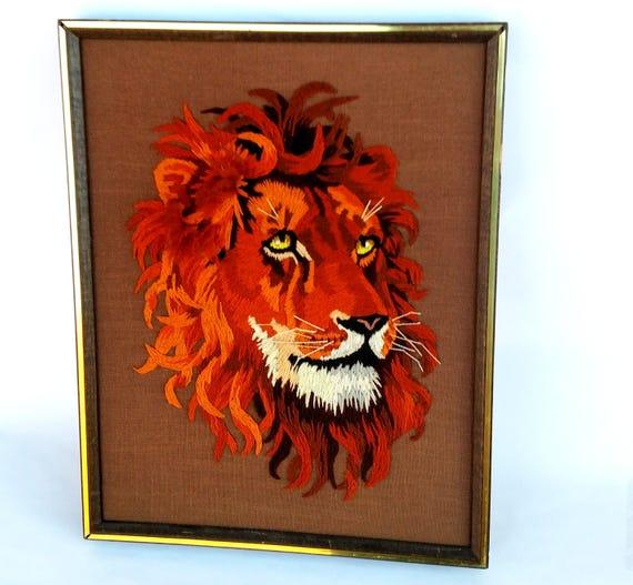 Vintage 1979 Framed Lion Embroidery by Sunset Designs