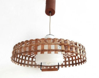 Mid Century Ceiling Pendant Lamp Wicker, White Glass and Teak Danish Design