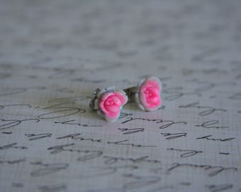 Bright Pink Rose Earrings 3D Hot Pink button posts - made with 3d buttons