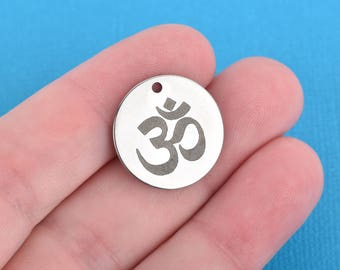 """OM Charms, Stainless Steel Quote Charms, Yoga Charms, Hindu Charms, Meditation Charms, 20mm (3/4""""), choose quantity, cls0190"""