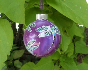 Hand painted ornament, purple dragonfly  363