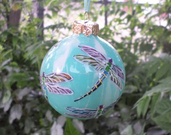 Aqua Hand painted  ornament, personalized, dragonflies 364