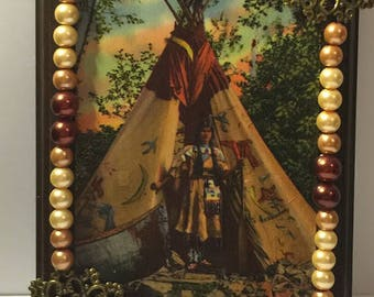 Native American Art | Vintage Postcard | Wood Sign | Brown Pearls | Metal Brass Filigree | Costume Jewelry Art | Jewelry Art |Indian History