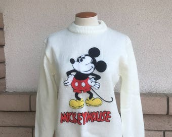 Vintage RARE Mickey Mouse Sweater RAISED MICKEY 1970s Disney Character Fashions Size S-M