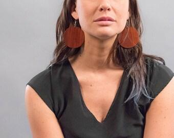 Wood Boho Earrings / Oversized Geomeric Earrings / Large Dangle Earrings / Statement Earrings / Costume Jewelry