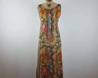 CLEARANCE SALE birds of a feather | vintage 1960s maxi dress | vtg 60s maxidress | sheath | medium/large | m/l
