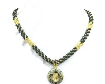 CITRINE AND PINEAPPLE Jade Beaded Kumihimo Necklace with Jasper Focal Bead