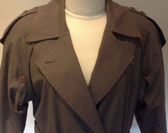Woman's Gabardine Trench Coat with Epaulettes – Maxi Length - Size 7/8