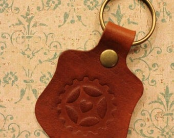Alice's Night Circus Leather Keyring Keychain Cog Heart Steampunk