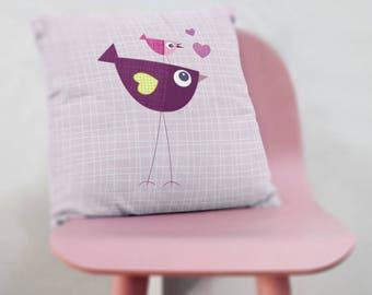 throw pillow covers 20x20, decorative pillow birds, pillow cover, kids decorative pillow, cushion cover, nursery pillow, kids throw pillow