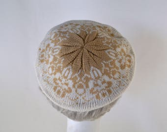 1980s Ivory and Tan Beret/Tam by English Village, One Size Fits All