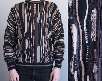 abstract 3D knit sweater - L