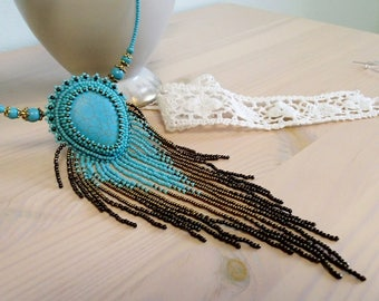 Turquoise Necklace , Beadwork Necklace, Beaded Necklace, Seed bead jewelry , Embroidered Pendant