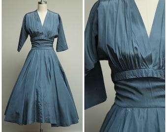 Vintage 1950s Dress • Make My Dreams • Slate Blue Taffeta New Look 50s Dress with Full Skirt Size Small