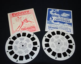 Vintage 1950's Rudolph The Red-Nosed Reindeer and The Night Before Christmas Sawyer's View Master Reels with Original Booklets
