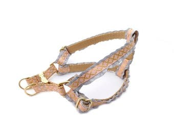 Pink Dog Harness Step in Harness, Ruffle Harness in Gold, Girly Step in Dog Harness