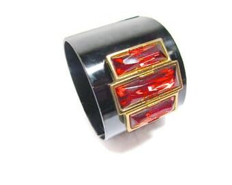 Vintage Clamper Cuff Black Enameled Large Rhinestone Modernist Bracelet 1980s