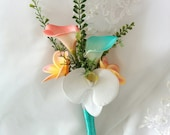 Wedding Coral Orange and Turquoise Teal Natural Touch Orchids, Callas and Plumerias Silk Bridesmaids Flowergirl Wedding Bouquet