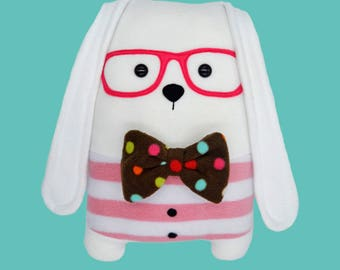 Bunny soft pillow / nerdy weird plush toy / home decor / nursery decor / novelty cushion / kawaii rabbit geek glasses bow tie adorable cute