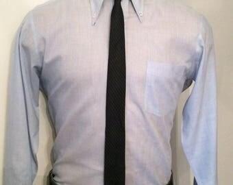 Vintage MENS black & blue diagonal striped skinny tie, circa 50s-60s