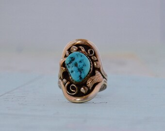 12K GF Navajo Turquoise Ring - Size 6.75 - Tawa by KT