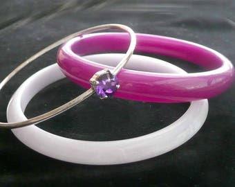 Set of 3 Bangle Bracelets Purple Vintage Lucite Plastic Retro Jewelry