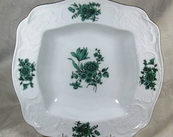 "11"" Square Serving Bowl Rosenthal Sanssouci Meissen Green Flowers on White, Gold Trim - Continental Germany"