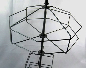 Vintage 1940s Multi-Level Rotating Wire Counter Top Display Rack Stand Merchandise Tie Rack Jewelry Storage Memo Holder Unique Sales Stand